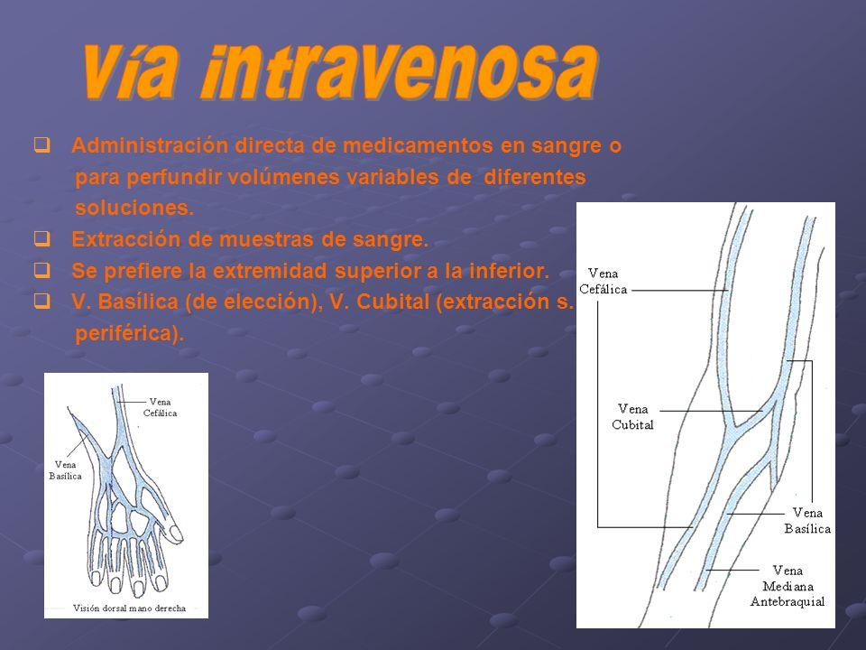 vía intravenosa Administración directa de medicamentos en sangre o