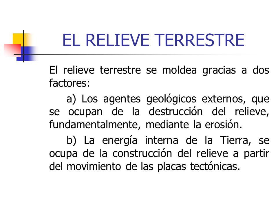 EL RELIEVE TERRESTRE El relieve terrestre se moldea gracias a dos factores: