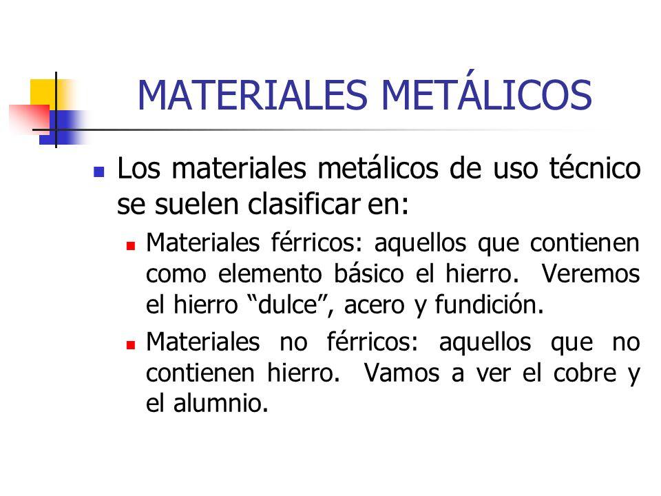 MATERIALES METÁLICOS Los materiales metálicos de uso técnico se suelen clasificar en: