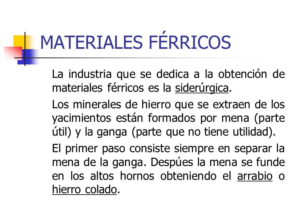 MATERIALES FÉRRICOS La industria que se dedica a la obtención de materiales férricos es la siderúrgica.