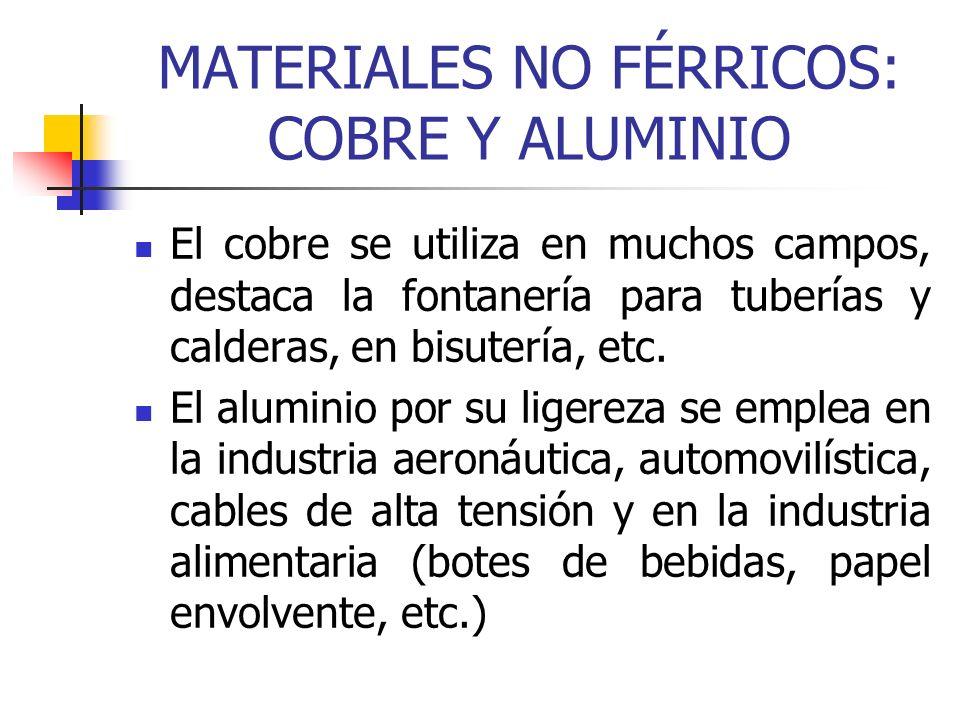 MATERIALES NO FÉRRICOS: COBRE Y ALUMINIO