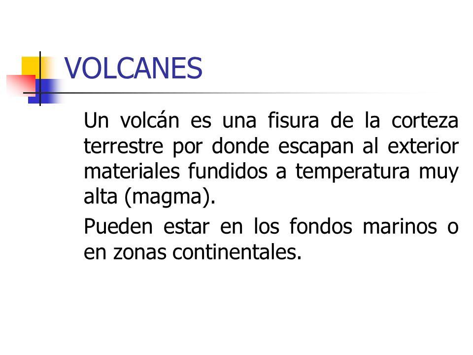 VOLCANES Un volcán es una fisura de la corteza terrestre por donde escapan al exterior materiales fundidos a temperatura muy alta (magma).