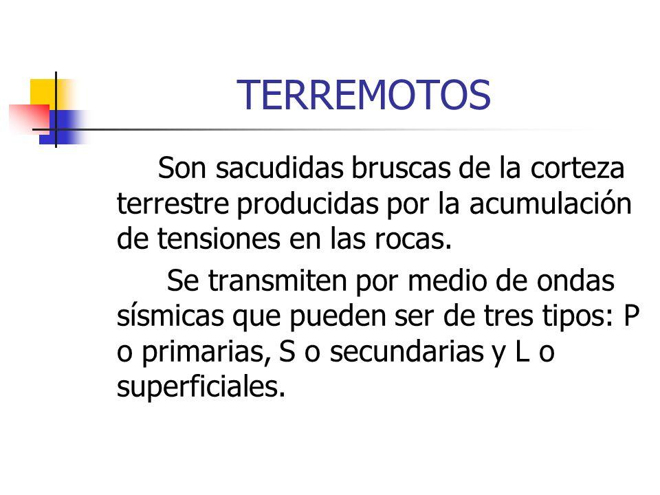 TERREMOTOSSon sacudidas bruscas de la corteza terrestre producidas por la acumulación de tensiones en las rocas.