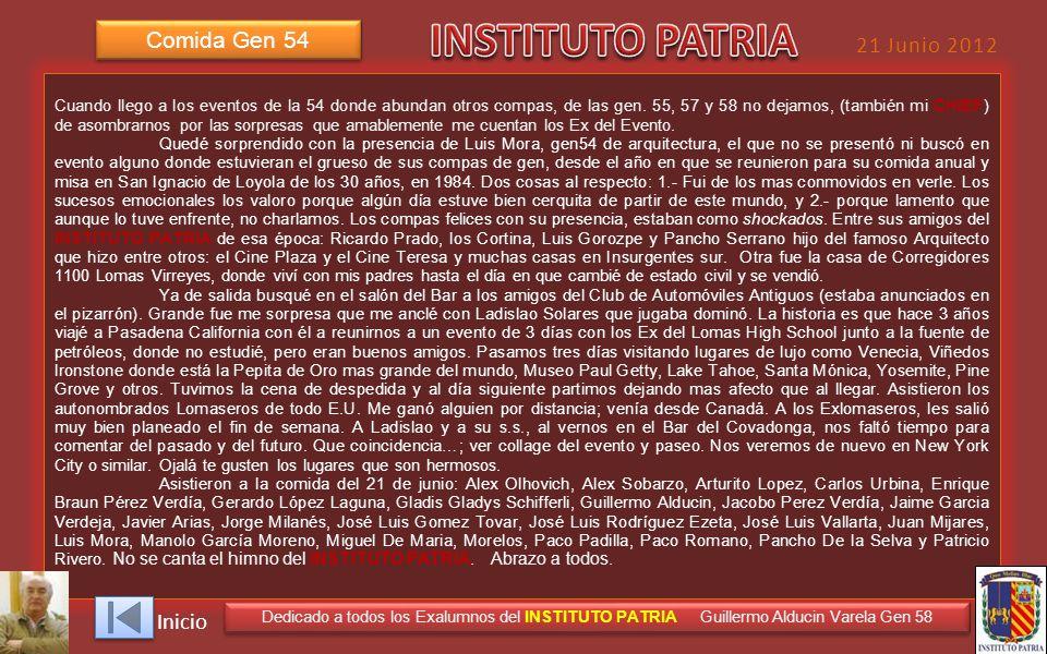 INSTITUTO PATRIA Comida Gen 54 21 Junio 2012 Inicio