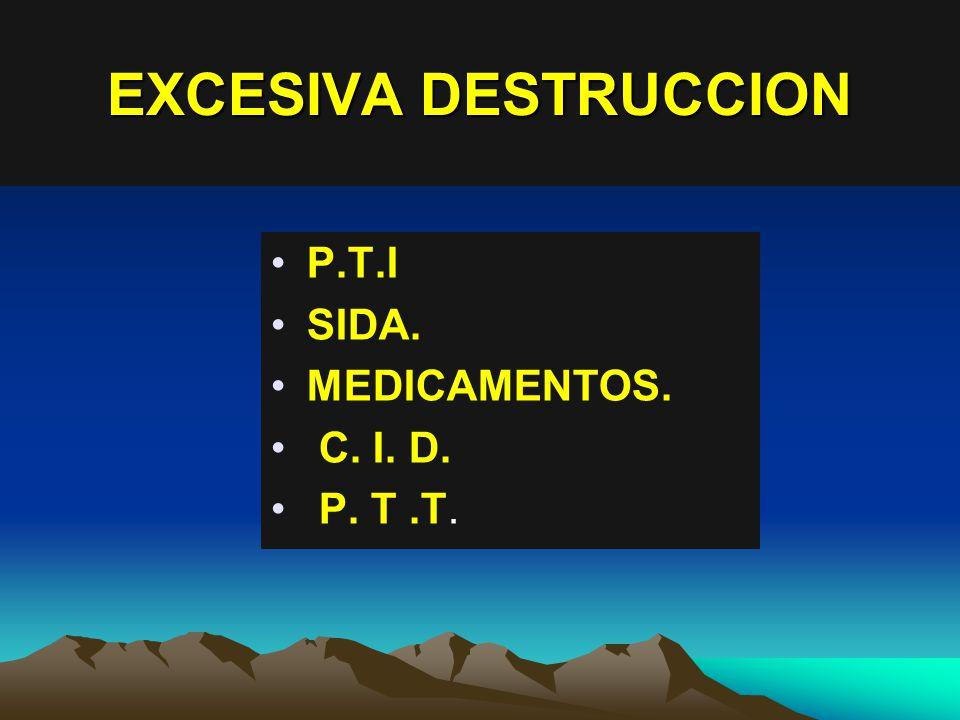 EXCESIVA DESTRUCCION P.T.I SIDA. MEDICAMENTOS. C. I. D. P. T .T.