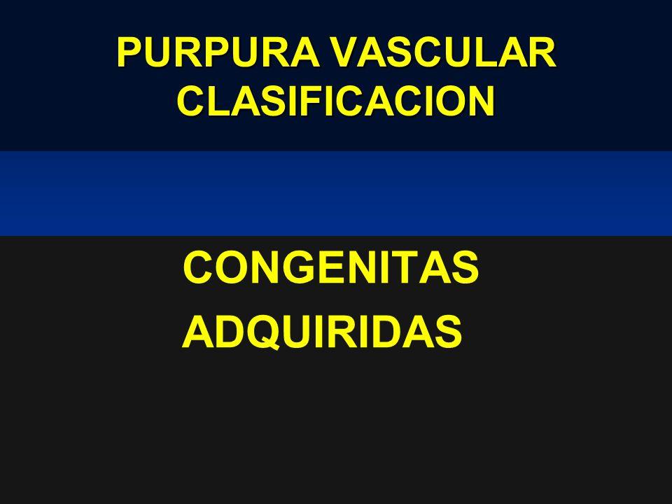 PURPURA VASCULAR CLASIFICACION