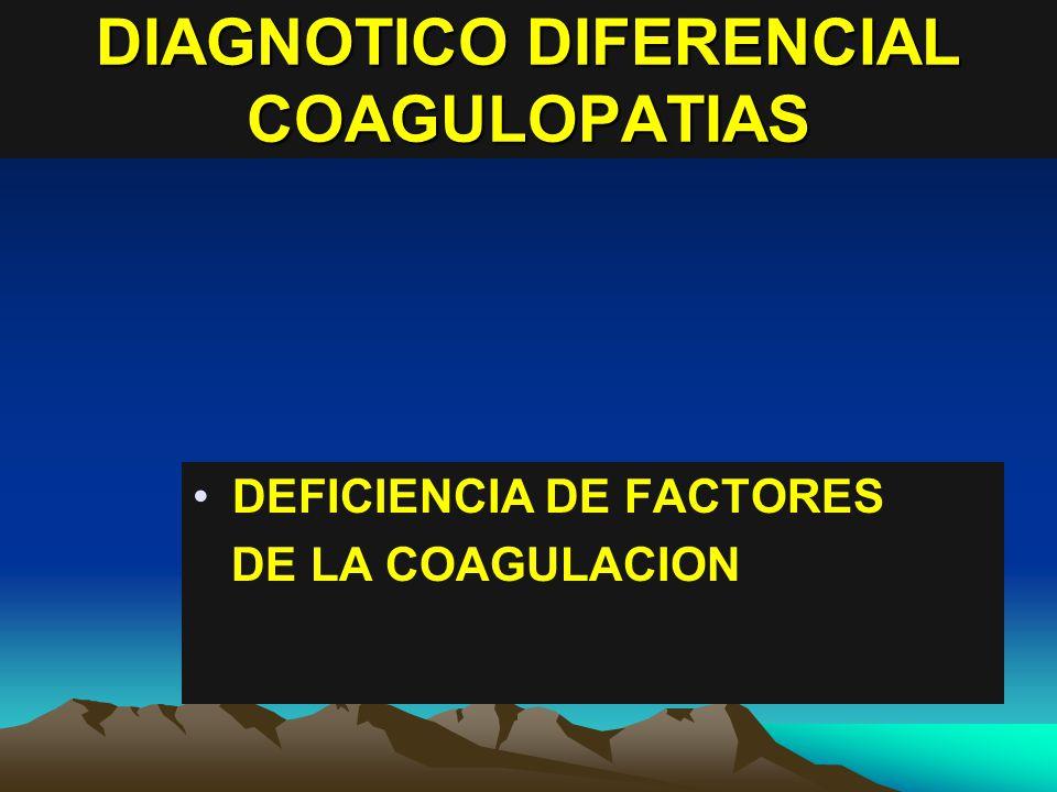 DIAGNOTICO DIFERENCIAL COAGULOPATIAS