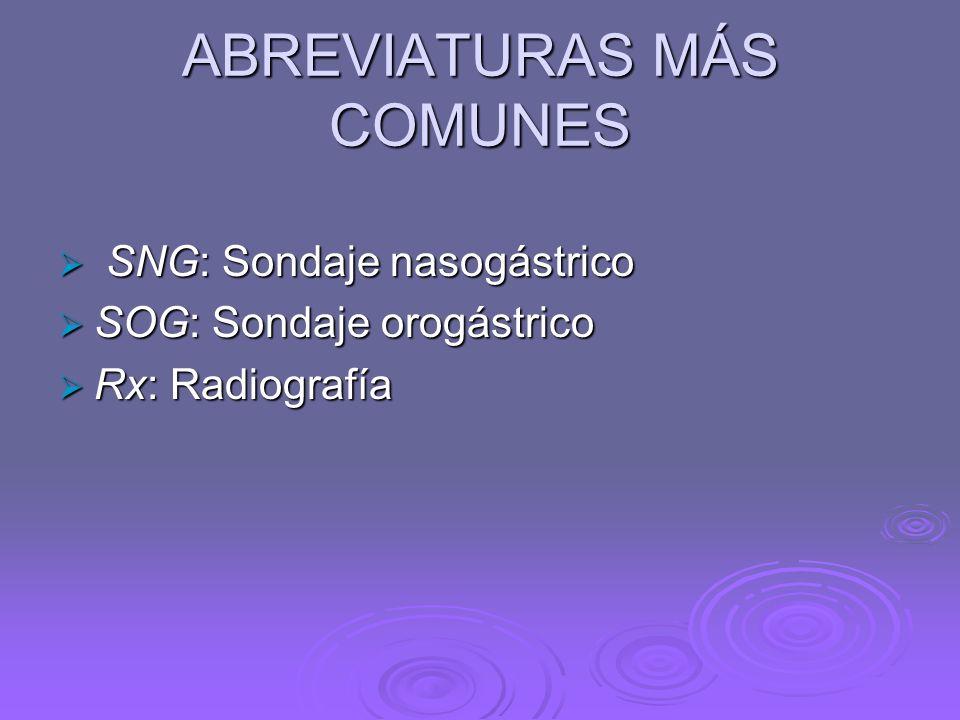ABREVIATURAS MÁS COMUNES