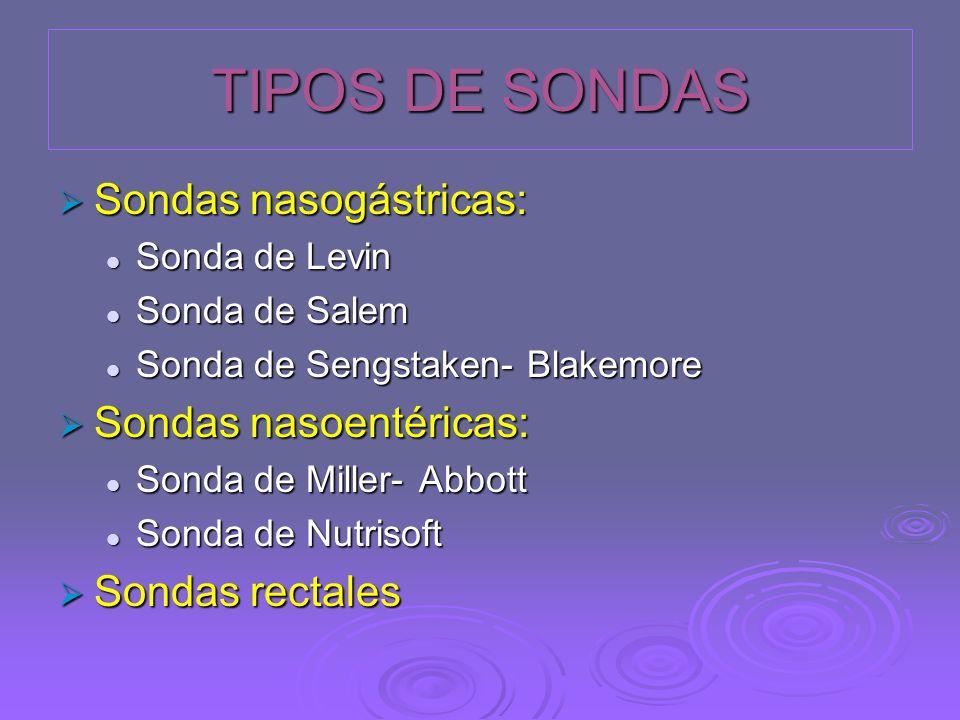 TIPOS DE SONDAS Sondas nasogástricas: Sondas nasoentéricas: