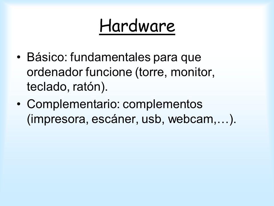 Hardware Básico: fundamentales para que ordenador funcione (torre, monitor, teclado, ratón).
