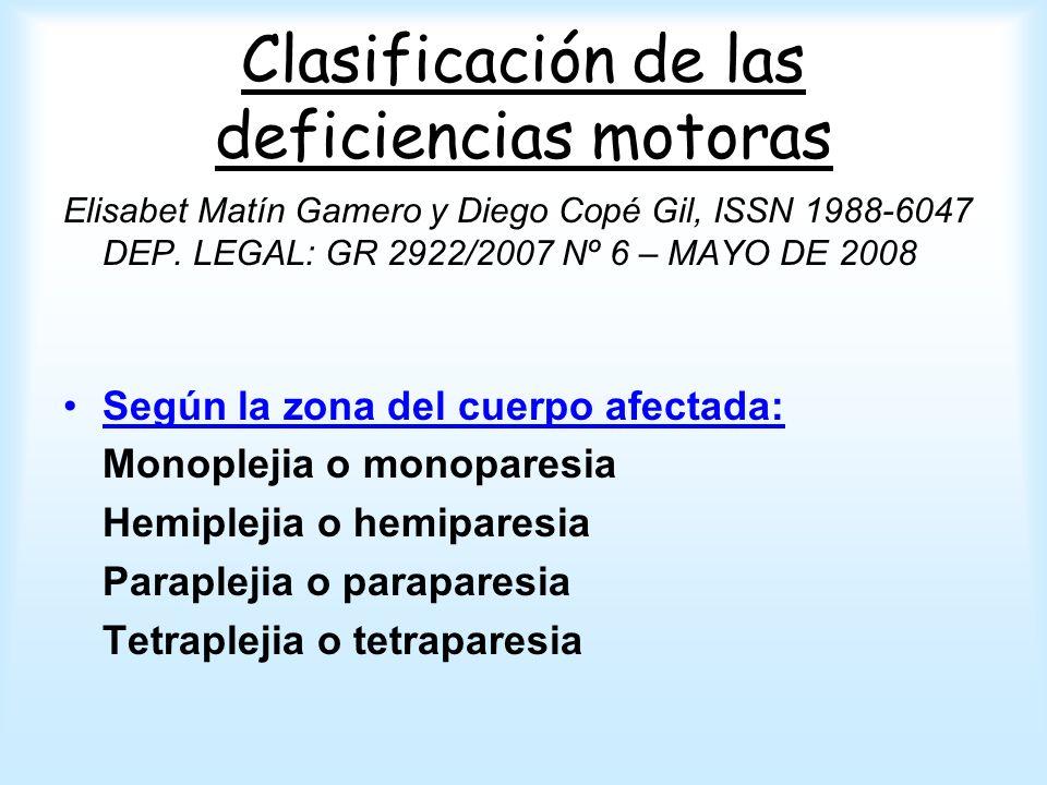 Clasificación de las deficiencias motoras