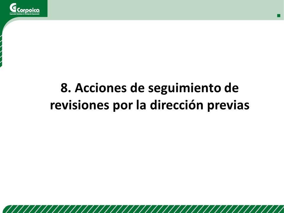 8. Acciones de seguimiento de revisiones por la dirección previas