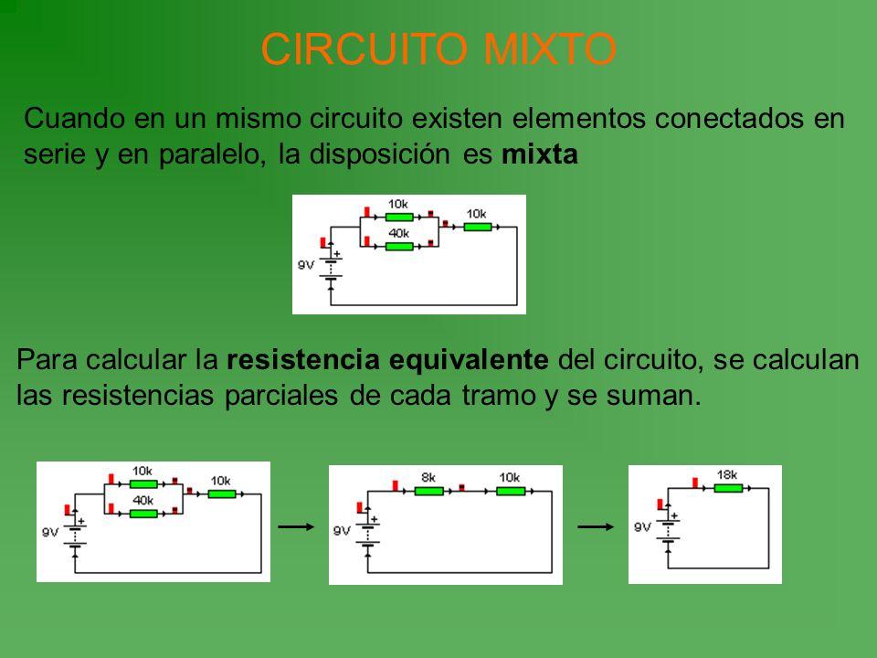 CIRCUITO MIXTOCuando en un mismo circuito existen elementos conectados en serie y en paralelo, la disposición es mixta.