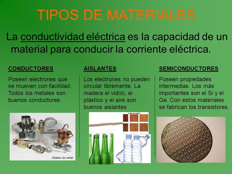 TIPOS DE MATERIALESLa conductividad eléctrica es la capacidad de un material para conducir la corriente eléctrica.