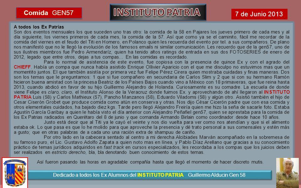 INSTITUTO PATRIA Comida GEN57 7 de Junio 2013