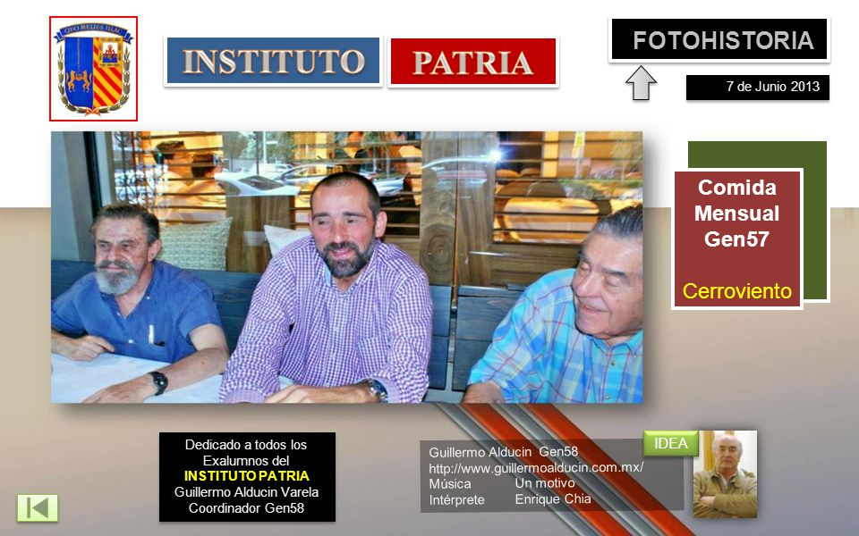 INSTITUTO PATRIA FOTOHISTORIA Comida Mensual Gen57 Cerroviento