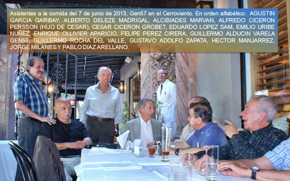 Asistentes a la comida del 7 de junio de 2013, Gen57 en el Cerroviento