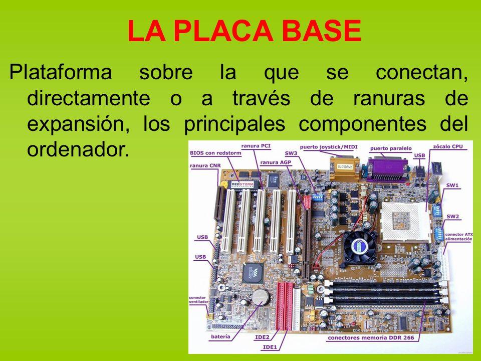 LA PLACA BASE Plataforma sobre la que se conectan, directamente o a través de ranuras de expansión, los principales componentes del ordenador.