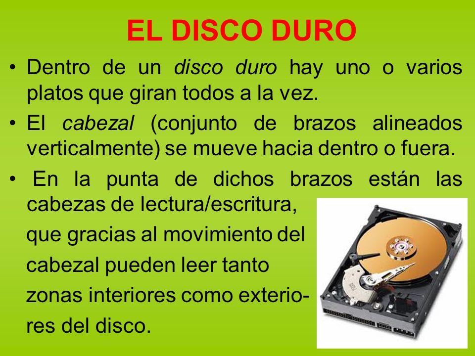 EL DISCO DURO Dentro de un disco duro hay uno o varios platos que giran todos a la vez.