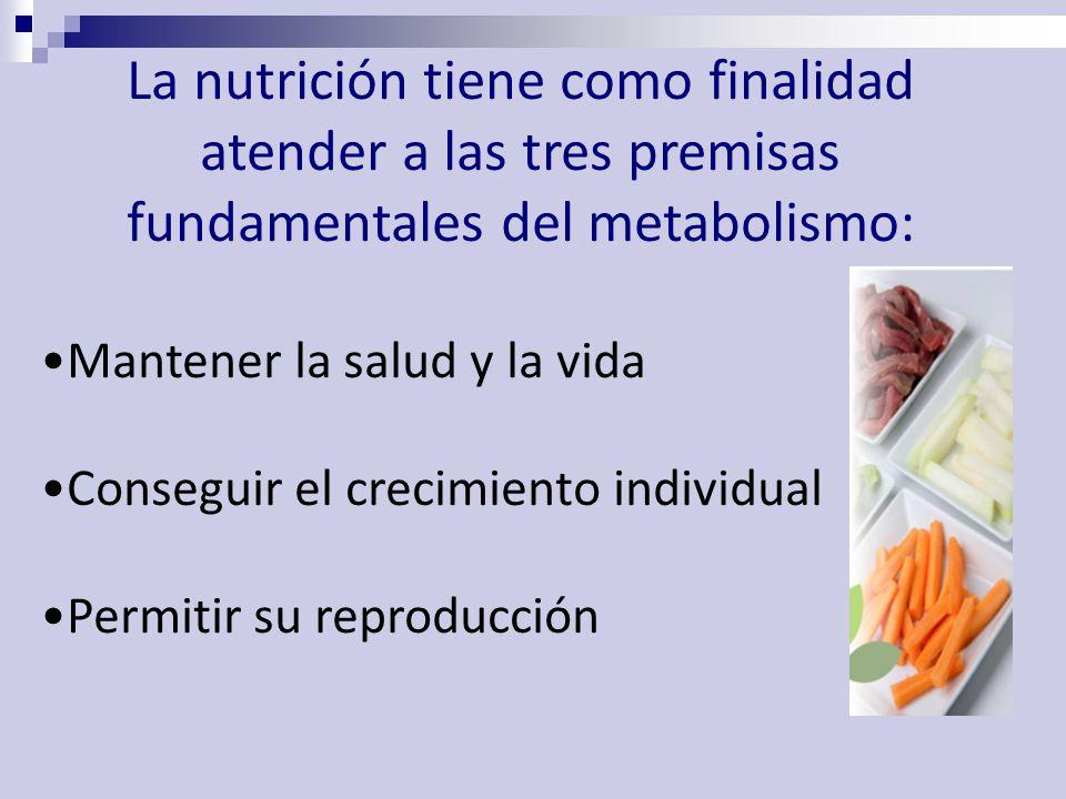 La nutrición tiene como finalidad atender a las tres premisas fundamentales del metabolismo: