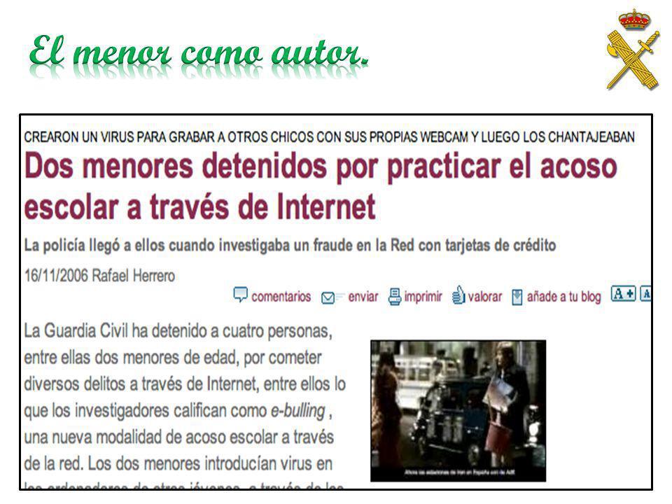 El menor como autor. Ejemplos diarios de detenciones sobre menores autores.