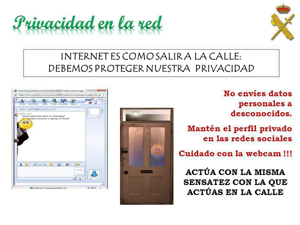 Privacidad en la red INTERNET ES COMO SALIR A LA CALLE: