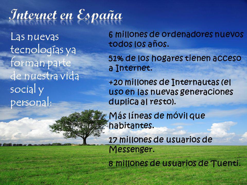 Internet en España 6 millones de ordenadores nuevos todos los años. 51% de los hogares tienen acceso a Internet.