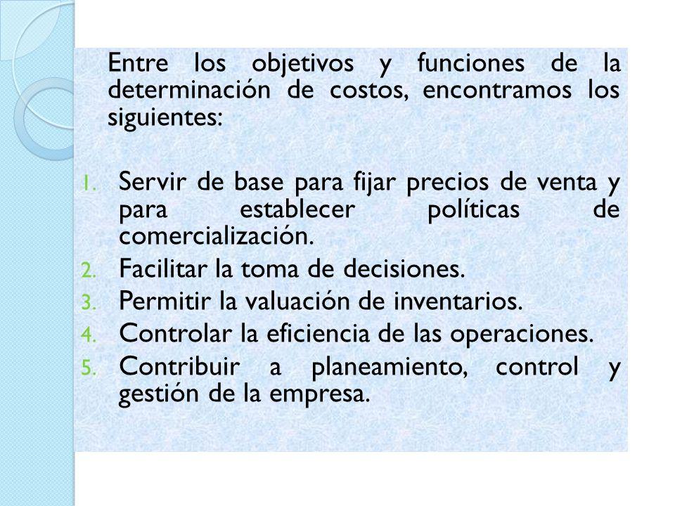 Entre los objetivos y funciones de la determinación de costos, encontramos los siguientes: