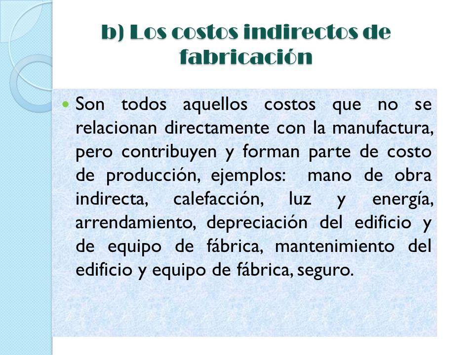 b) Los costos indirectos de fabricación