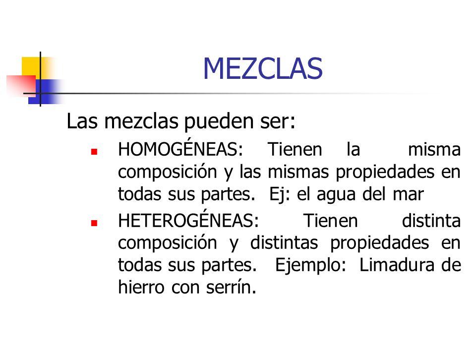 MEZCLAS Las mezclas pueden ser: