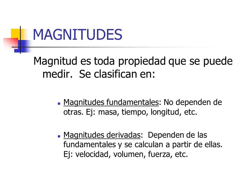 MAGNITUDES Magnitud es toda propiedad que se puede medir. Se clasifican en: