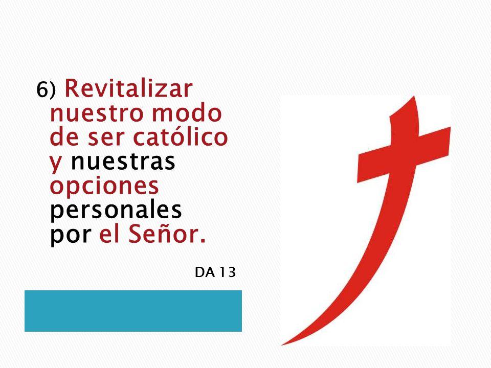 6) Revitalizar nuestro modo de ser católico y nuestras opciones personales por el Señor.