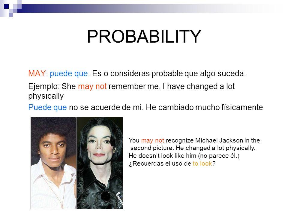 PROBABILITY MAY: puede que. Es o consideras probable que algo suceda.