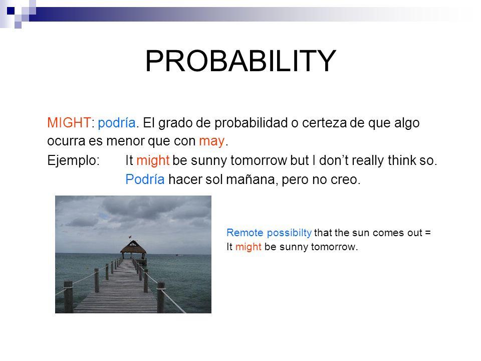 PROBABILITY MIGHT: podría. El grado de probabilidad o certeza de que algo ocurra es menor que con may.