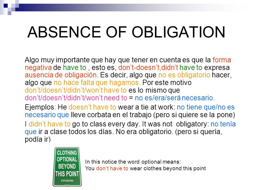 ABSENCE OF OBLIGATION