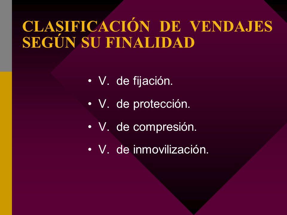 CLASIFICACIÓN DE VENDAJES SEGÚN SU FINALIDAD