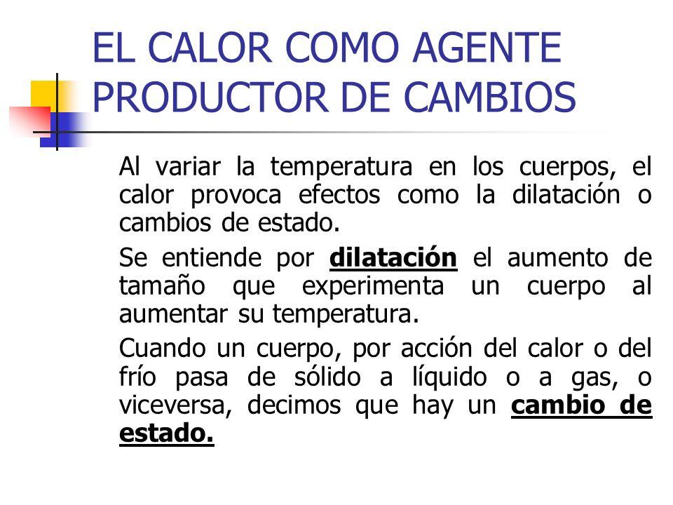 EL CALOR COMO AGENTE PRODUCTOR DE CAMBIOS