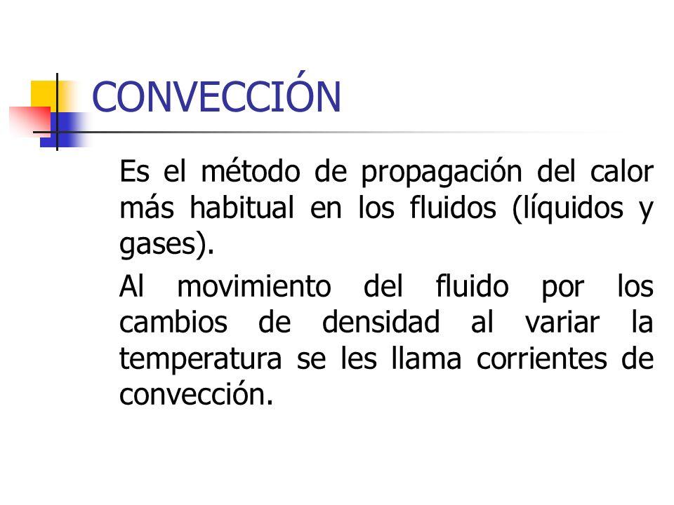 CONVECCIÓNEs el método de propagación del calor más habitual en los fluidos (líquidos y gases).
