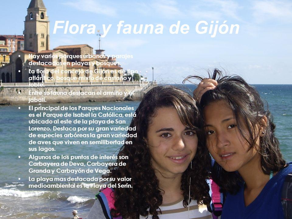 Flora y fauna de GijónHay varios parques urbanos y parajes destacados en playas y bosques.