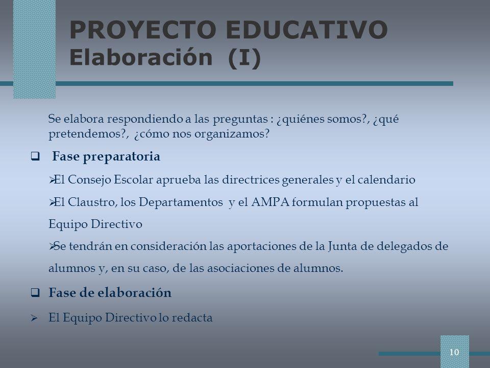 PROYECTO EDUCATIVO Elaboración (I)