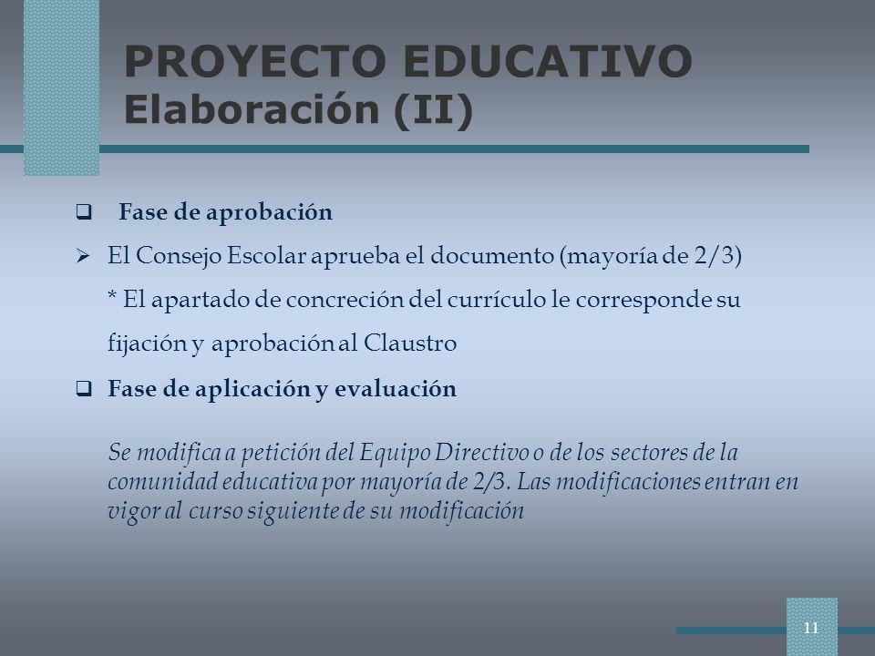 PROYECTO EDUCATIVO Elaboración (II)
