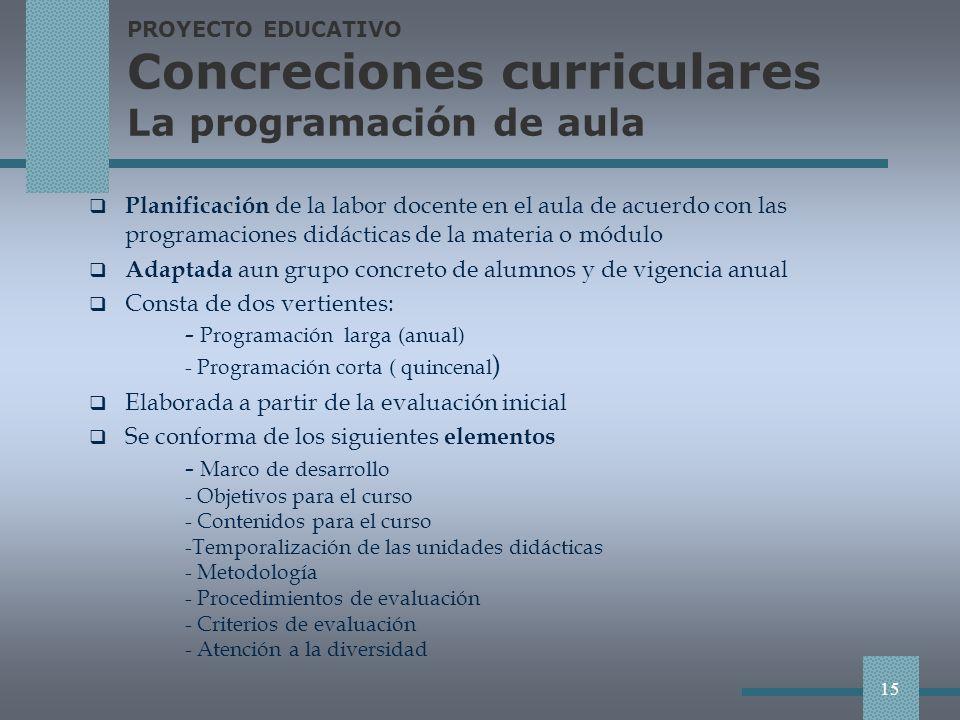 PROYECTO EDUCATIVO Concreciones curriculares La programación de aula
