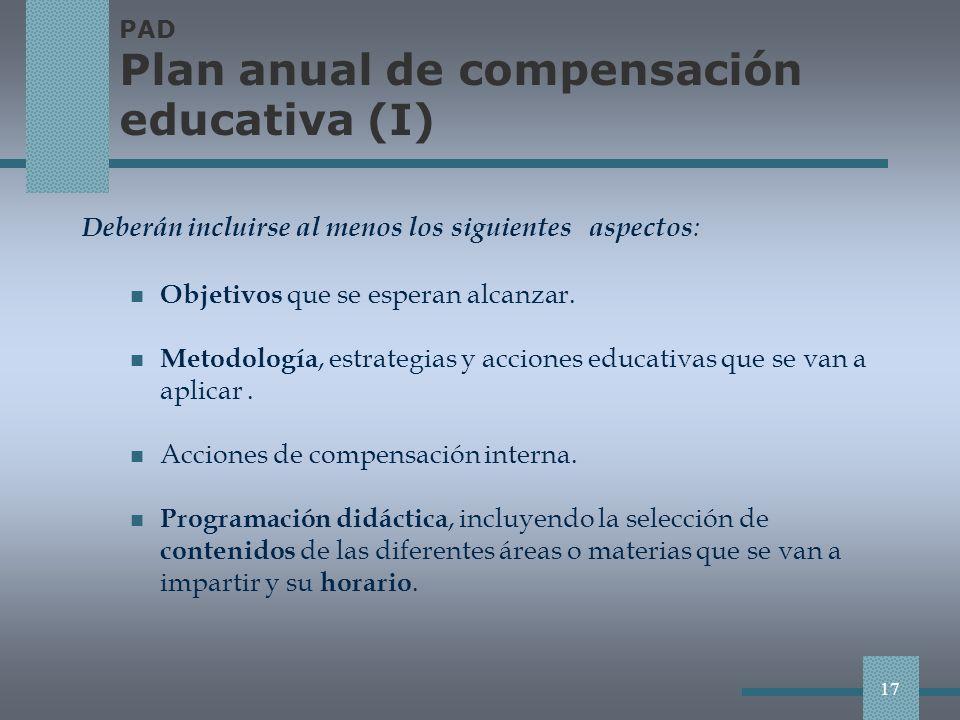 PAD Plan anual de compensación educativa (I)