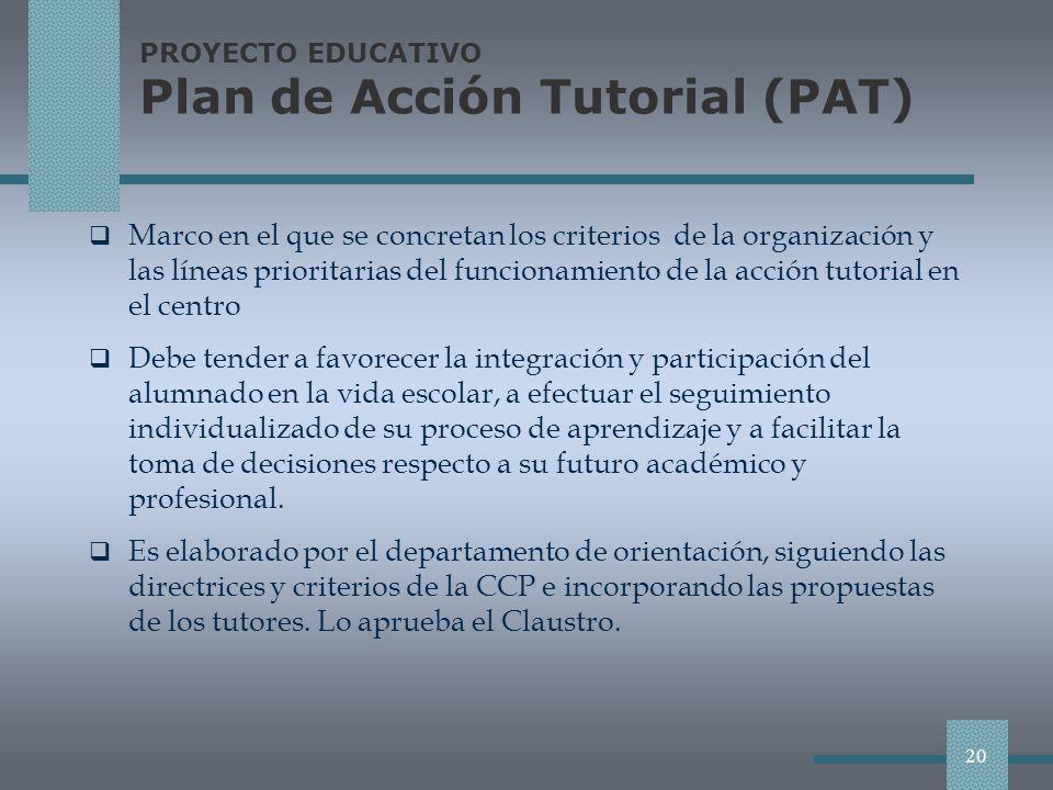 PROYECTO EDUCATIVO Plan de Acción Tutorial (PAT)