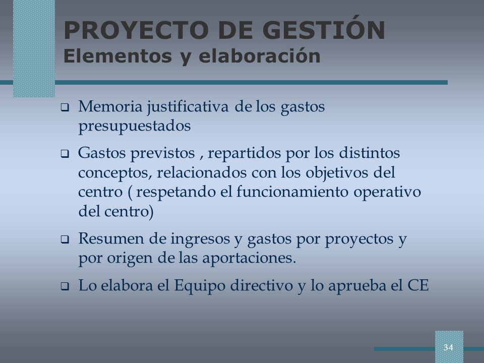PROYECTO DE GESTIÓN Elementos y elaboración