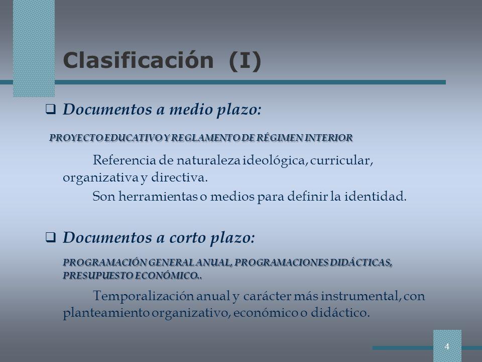 Clasificación (I) PROYECTO EDUCATIVO Y REGLAMENTO DE RÉGIMEN INTERIOR