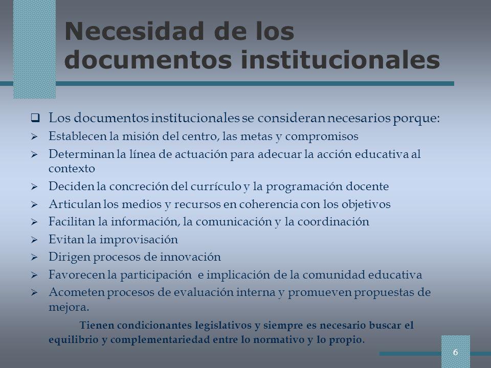 Necesidad de los documentos institucionales
