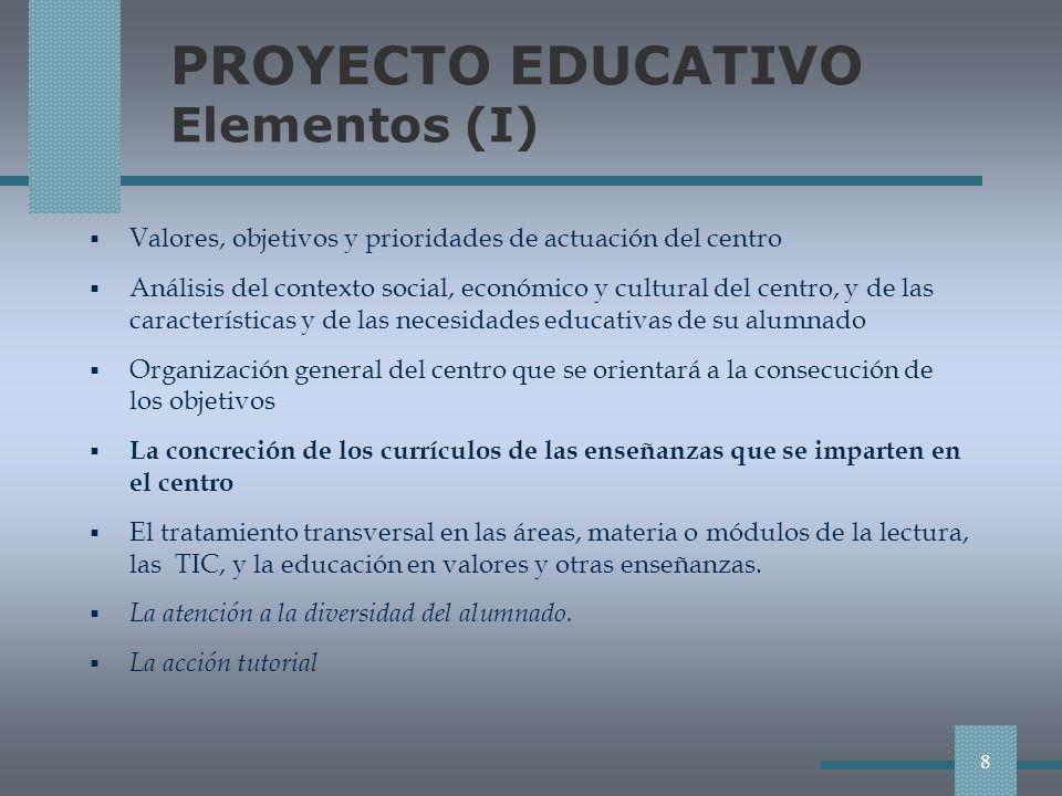 PROYECTO EDUCATIVO Elementos (I)