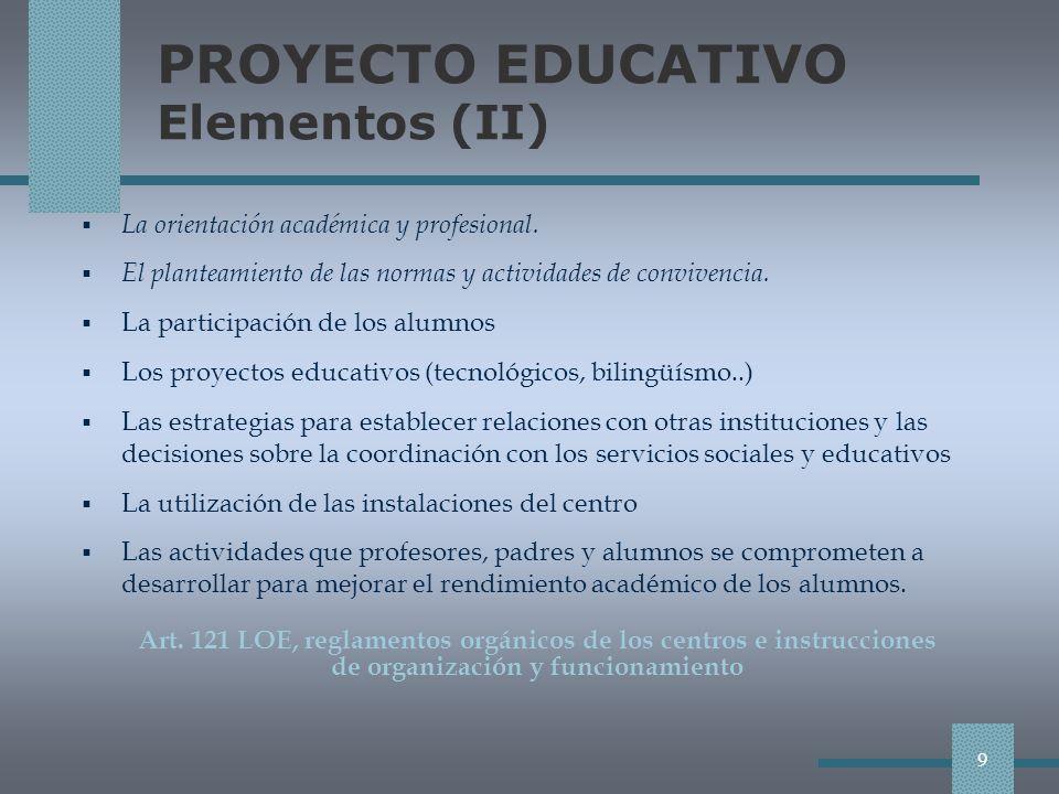 PROYECTO EDUCATIVO Elementos (II)