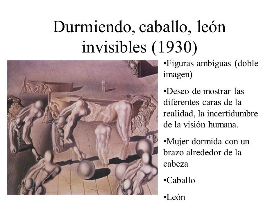Durmiendo, caballo, león invisibles (1930)